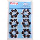 Push buttons metal, black, Ø 11mm - 36 pieces