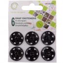 Drukknoppen metaal, zwart, Ø 21 mm - 6 stuks