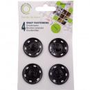 Drukknoppen metaal, zwart, Ø 30 mm - 4 stuks