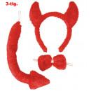 Duivel set, 3 stuks. (Tail, linten, hoofdband m