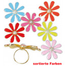 grossiste Anneaux et bagues: fleurs à anneaux, couleurs assorties