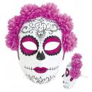ingrosso Giocattoli: La metà messicano  maschera Totentag, fiori rosa