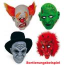 Vollmaske  Halloween, sortierte Modelle