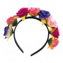wholesale Hair Accessories: Haarreif Mexican  Totentag, flowers blue-pink-