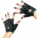grossiste Mercerie et couture: Gants Punk avec des rivets, noir, demi-doigt,