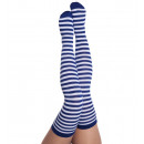 wholesale Fashion & Mode: Overknees, blue /  white, ca. 55 cm length