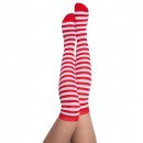 wholesale Stockings & Socks: Overknees, red /  white, ca. 55 cm length