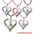 Chain heart, with  cord, assorted colors