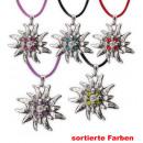 grossiste Bijoux & Montres: Chaîne Edelweiss,  avec cordon, couleurs assorties
