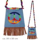 groothandel Handtassen: Bag hippie, vredes teken, 20 x 20 cm