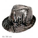 ingrosso Articoli da Regalo & Cartoleria: Paillettenhut  argento / nero, Gr. 58 cm