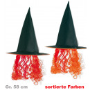 wholesale Hair Accessories: Witch hat with  hair, assorted colors, Gr. 58 cm