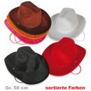 grossiste Jouets: Chapeau de velours  de cow - boy, couleurs assortie