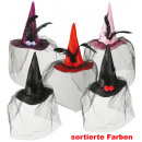 Fascinator witch hat with hair clips, assorted col