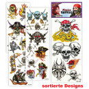 Großhandel Piercing / Tattoo: Tattoos Piraten, sortierte Motive