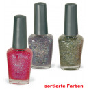 wholesale Nail Varnish: Glitter nail  polish, assorted colors, 14 ml