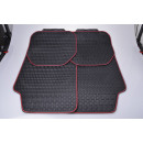 Foot mat set 4-piece red border