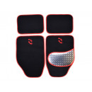Car Carpet Set Alu-Look-pad 4-piece, red surround