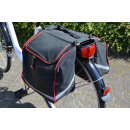 Bicycle Double Bag rood / zwart met Reflektorstre