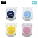 wholesale Home & Living: printed glass  candle, 4-times assorted