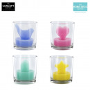 3d glass candle, 4-times assorted