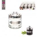 groothandel Home & Living: glazen pot met  metalen deksel 11x7.5cm, one-time