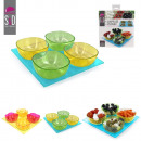 x4 and x1 cup plate 21x21cm, 2-times assorted