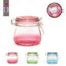 wholesale Irons: 500ml glass jar  11x11cm, 3-times assorted