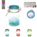 wholesale Irons: glass jar with lid  6.9x12cm, 3-times assort