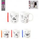 grossiste Tasses & Mugs: mug a colorier et  feutre, 3-fois assorti