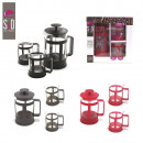 box cafetiere has piston and x2 glasses, 3-times a