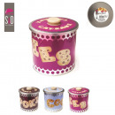 Round metal box  15.5x16cm cookie, assorted 3-fold