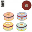 23x6.8cm round metal box, 4-times assorted