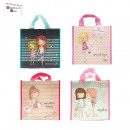 grossiste Bagages et articles de voyage: sac shopping  girly, 4-fois assorti