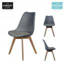 Großhandel Möbel: Scandinavian Stuhl  mit Schale pp Kissen grau, 1-fo