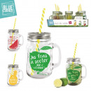 wholesale Cups & Mugs: fruity glass mug  440ml with straw 3-times assorted