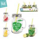 grossiste Tasses & Mugs: mug verre fruite  440ml avec paille, 3-fois assorti