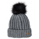 Roadsign Faux fur pompom knitted hat, gray melange