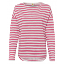 Großhandel Fashion & Accessoires: Damen Langarmshirt gestreift, L, pink-offwhite