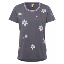 Women T-Shirt allover lillies , anthracite, sorti