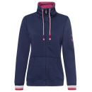 Ladies sweat jacket stand-up collar, marine, assor