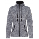 wholesale Coats & Jackets: Ladies knitted fleece jacket City Leaf, gray-long,