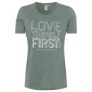 nagyker Pólók, shirt: Hölgyek T-Shirt Love First, zöld, válogatott méret