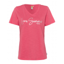 wholesale Shirts & Tops: Ladies T-Shirt Summer Love, coral, assorted size