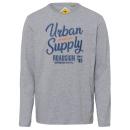 Großhandel Shirts & Tops: Herren Langarmshirt Urban Supply, grau melange