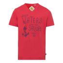 Großhandel Shirts & Tops: Herren Printshirt Rough Waters, rot, sortierte Grö
