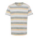 Férfiak T-Shirt Szabadtéri csíkok, khaki / ecru /