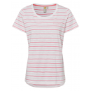 Ladies T-Shirt striped summer, XL, coral rose