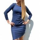 Großhandel Fashion & Accessoires: Kleid, plissiert,  ausgestattet, dunkelblau