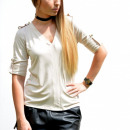 wholesale Shirts & Blouses: Blouse, hooked sleeves, airy, beige